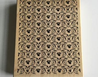 "Stampin Up ""Parlor Prints"" Brand New, Never Used Background Wood Mounted Retired Rubber Stamp - Perfect for Cardmaking"