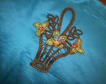 Exceptional and rare silk and metal antique authentic ribbon work