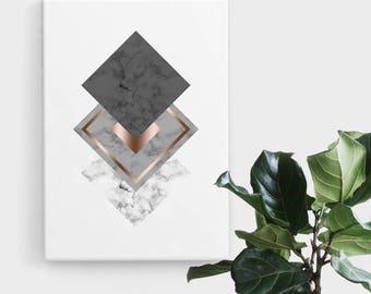 Marble Rose Gold Diamond Print, Print Art, Geometric Art, Abstract Art, Scandinavian Print, Minimalist Art, Digital Art, Printable Art