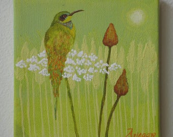 Original Bee Catcher Bird And Wild Flower Acrylic Painting 6 by 6 inches on stretched canvas