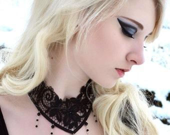 Gothic lace choker victorian steampunk with Swarovski crystal cascade - Jet black NOCTURNE