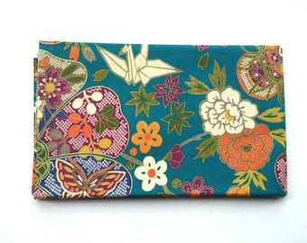 Japanese Fabric - Cotton Fabric -  1 Yard - Origami Crane - Teal Fabric - Butterflies - Flower Fabric - 110 cm x 100 cm (F18-P17)