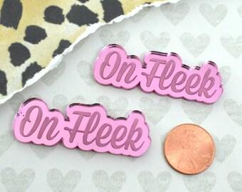 ON FLEEK - 2 Pink Mirror Cabochons- Laser Cut Acrylic Cab
