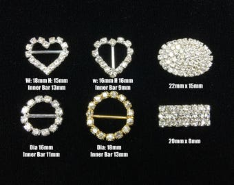 Rhinestone Buckle Circle Heart Arch Oval Embellistments Gold Silver Slider DIY