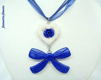 """Fimo necklace """"Romantic"""" heart blue glittering and glittering white + big bow - handmade"""