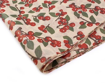 24 sheets of kraft Tissue Paper Christmas HOLLY BERRIES - 15 x 20 inch 100% recycled tissue for Packaging and Gift Wrapping