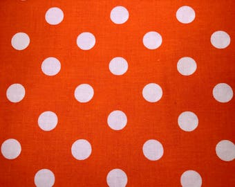 Polka dot fabric - Orange fabric - Quilting Cotton Fabric - Choose your cut