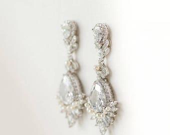 Wedding Earrings, Brides Earrings, Rose Gold Bridal Earrings, Drop Earrings, CZ Wedding Earrings, Chandelier CZ Earrings