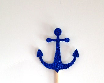 24 Blue Glitter  Anchor Cupcake Toppers - Food Picks - Party Picks