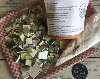 Mosaic Flower Pot Kit - Make Your Own - Green Broken China
