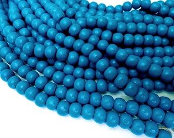 Perles rondes en bois bleu 10x9mm - 30 unités