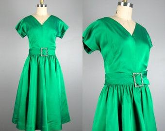 Vintage 1950s Green Dress 50s Kelly Green Satin Full Skirt Cocktail Dress by R&K Originals Size L