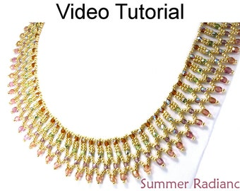 Video Tutorial Necklace Beaded Jewelry Making Pattern Netting MP4 Instructions Directions Beadweaving Stitch Beads #9488