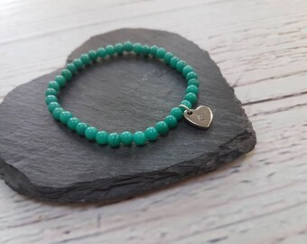 Personalised turquoise jade beaded bracelet with heart initial charms|gift for women|personalised jewellery|stamped name bracelet|birthday