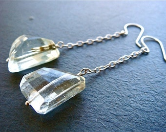 Crystal Mist Earrings- green amethyst and sterling silver