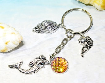 Mermaid keyring, gold mermaid, mermaid keychain, mermaid bag charm, mermaid lover gift, mermaid bag tag, party bag gift