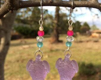 Memorial Day Sale Purple Sea Glass Earrings, Turtle Earrings