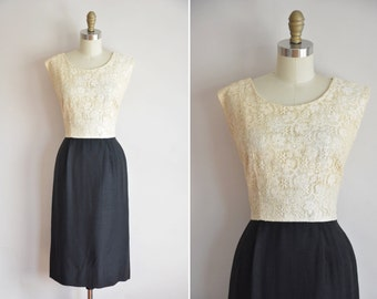 50s Day & Night dress/ vintage 1950s silk and lace wiggle dress/ vintage lace bombshell dress