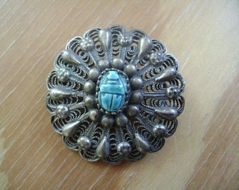 egyptian revival scarab brooch in silver