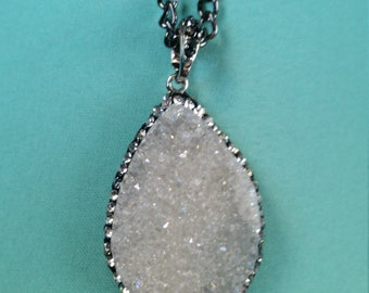White Crystal Pendant Necklace