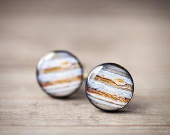 Jupiter Cufflinks, Space Cufflinks, Planet Cufflinks, Science Wedding gift, Geek cufflinks, galaxy cufflinks, Fathers Day gift cuff links