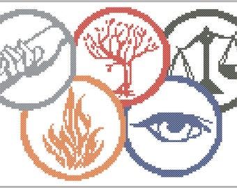 BOGO FREE! Divergent Logo Movie  Abnegation Amity  Candor  Dauntless  Erudite   cross stitch pattern pdf pattern instant download  #195
