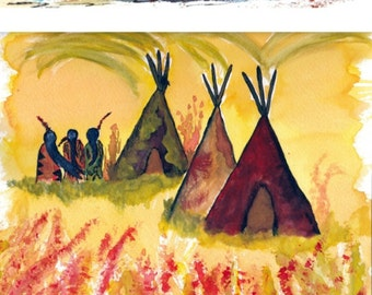 Set of 3, Native American Inspired / Southwestern Style, Watercolor Paintings, Horses Home Decor, Women Wall Hanging, 8 x 10, Giclee Print