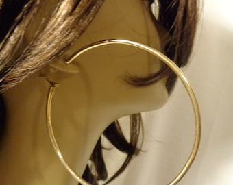 LARGE 4.5 inch Hoop Earrings Thick Cast Tube Hoop Earrings GOLD Plated Hoop Earrings