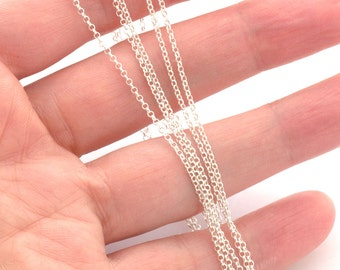 Unfinished sterling silver chain by meter - sterling rolo chain 1mm