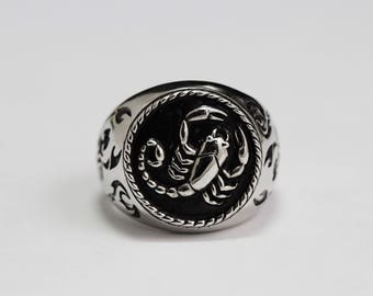 scorpion ring,Silver with Black Oxidized.