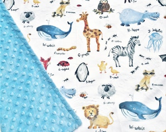 Personalized Alphabet Zoo Minky Baby Blanket - Made to Order