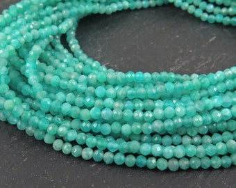 """AAA Amazonite Micro-Faceted Rondelles 2mm ~ 13"""" Strand"""