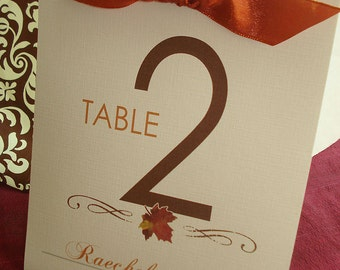 Leaf It Up To Me Stand Alone Table Number or Menu Tents - Sample