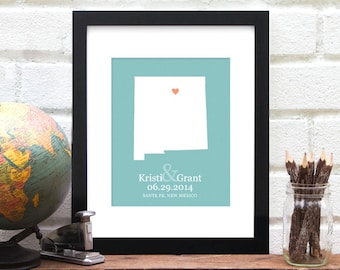 New Mexico Wedding Gift, New Mexico Map, Wedding Gift, Engagement Gift, New Mexico State Map Gift, Gift for Bride  - Art Print