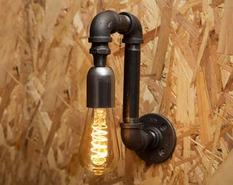 Black industrial iron pipe wall light - Free UK postage