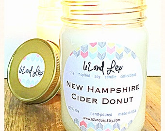 New Hampshire Cider Donut Soy Candle/Apple Scented Candle/Soy Candle/Gift for Her/Donut Candle/Scented Friend Gift/Fall Candle
