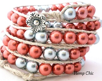 Handmade Five Wrap Hemp Wrap Bracelet with Cranberry Red and Silver Glass Pearls