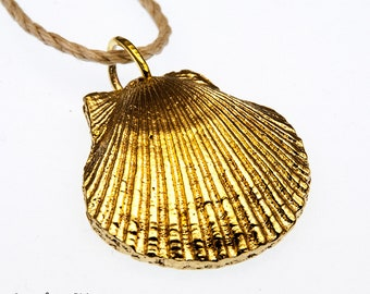 Seashell Necklace  Cast in Brass from a Real Shell   Large over 1 inch     (BITCOIN ACCEPTED)