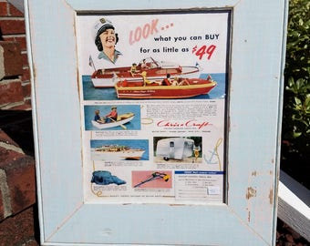CHRIS CRAFT boat ad in old vintage wood picture frame