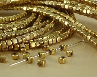 100 Brass Cube 3mm Beads Solid Brass Square Tiny accent brass Spacer Beads with roundes polished corners perfect for Jewelry making