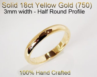 18ct 750 Solid Yellow Gold Ring Wedding Engagement Friendship Half Round Band 3mm