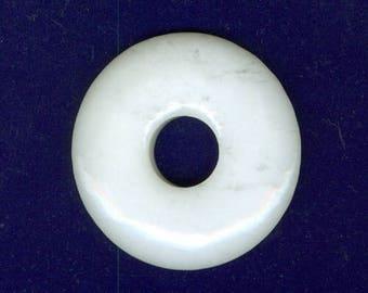 White Jade Pendant, 40mm White Jade Gemstone PI Donut Pendant Focal Bead Doughnut 1202