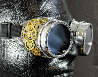 Steampunk Chrome Goggles with Gears
