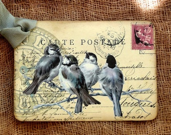 French Bird Postcard Gift or Scrapbook Tags or Magnet #648