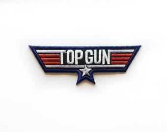 "Top Gun Patch - Air Flight - TopGun Iron-on Patches - Tattoo Appliqué - Embroidery - DIY Denim Jacket - Size 4.5"" x 1.5"" (P107)"