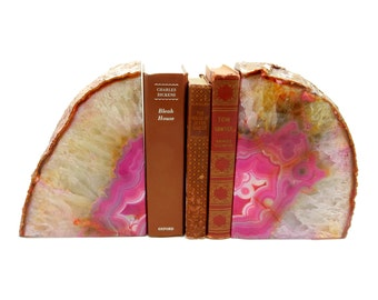 Amazing Large Pink Dyed Agate Geode Bookends -  Over 19 lb Bookends - Perfect for Book Collections and Display - (BD2-02)
