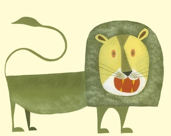 Augustus the lion. Limited edition 11x14 print by Matte Stephens.