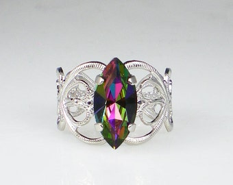 Electra Rhinestone Ring  Pink Violet Green Silver Plated Adjustable Filigree Ring Jewelry