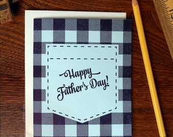 letterpress happy father's day plaid shirt greeting card flannel loving dad