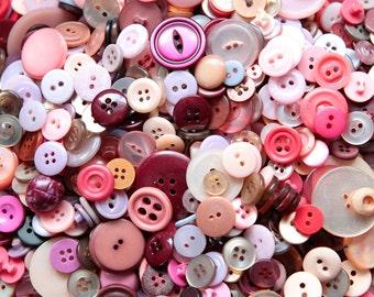 Buttons - Supplies - Pink Buttons, Lavender Vintage Button Lot, Lilac Buttons, craft buttons, bulk buttons